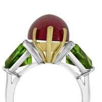 Rose-gold platinum, pink-tourmaline & peridot ring, £8,500, by Belle Amie