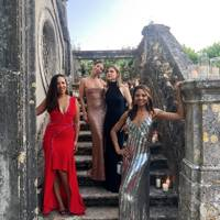 Viscountess Weymouth with guests at Ed Tang and John Auerbach's wedding, July 2019