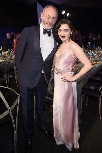 Liam Cunningham and Maisie Williams