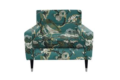 Embroidered silk & cotton armchair
