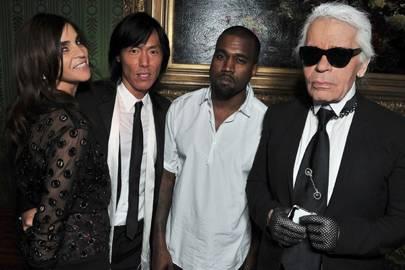 Carine Roitfeld, Stephen Gan, Kanye West and Karl Lagerfeld