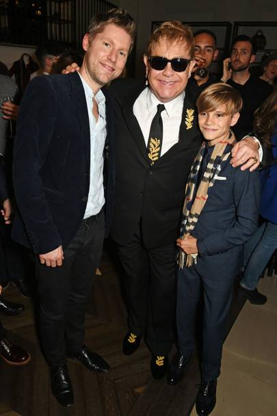 Christopher Bailey, Sir Elton John and Romeo Beckham