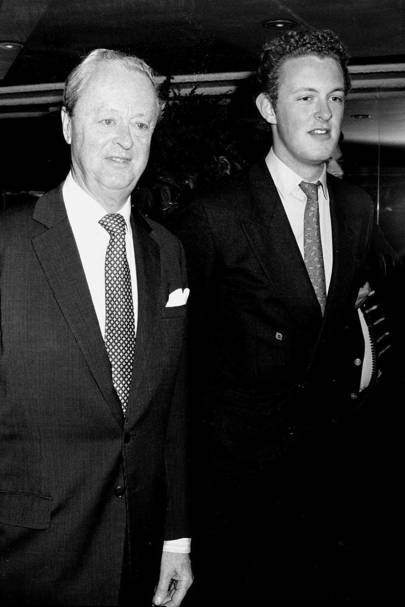 1997: With son Edward Spencer-Churchill at the theatre