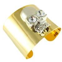 Vertex Rhinestone Gold Skull Bracelet