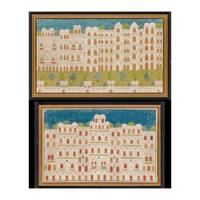 TWO PAIRS OF INDIAN PALACE PAINTINGS, 20th CENTURY – Each pair £1000-2000
