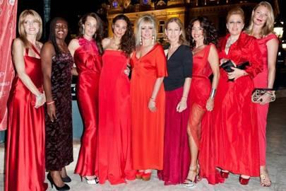 Umberta Beretta, Patricia Asamoah, Julie Brangstrup, Lilly Becker, Jo Wood, Deborah Dugan, Gaberiella, Olivia Mariotti and Jodie Kidd in Monte Carlo