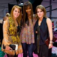 Princess Beatrice, Naomi Campbell and Princess Eugenie at the Issa London show, A/W09