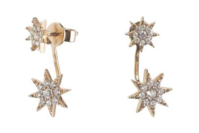 Gold & diamond earrings, £1,450, by Bee Goddess