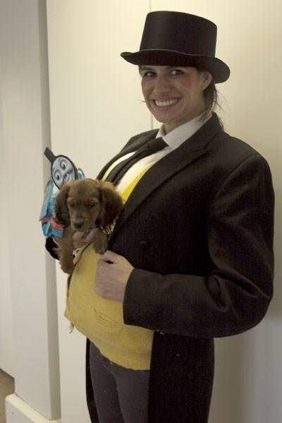 Jennifer George and Alan as The Fat Controller and Thomas the Tank Engine