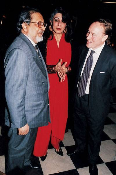 Sir Vidia and Lady Naipaul and Andrew Roberts
