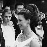 1967: In a Persian turquoise tiara at a royal film performance of The Taming of the Shrew