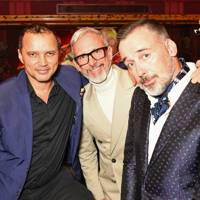 Gerry DeVeaux, Patrick Cox and David Furnish