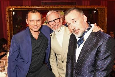 Gerry DeVeaux, Patrick Cox and David Furnish