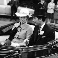 Princess Anne and the Prince of Wales arrive at Royal Ascot, 1972