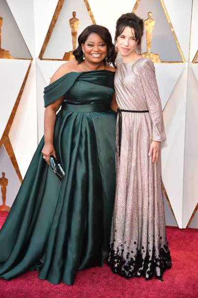 Octavia Spencer in Brandon Maxwell and Sally Hawkins in Armani Privé