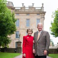 The Duchess and Duke of Devonshire in front of the North Wing