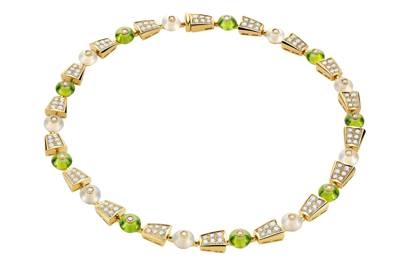 Peridot, yellow-gold and diamond necklace, £46,100, Bulgari