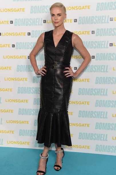 Charlize Theron wearing Alexander McQueen for the photocall of the film 'Bombshell'