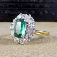 Emerald and Diamond Cluster Ring by London DE