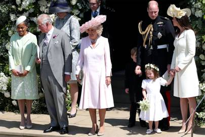 Doria Ragland, the Prince of Wales, the Duchess of Cornwall, the Duke and Duchess of Cambridge with Prince George and Princess Charlotte