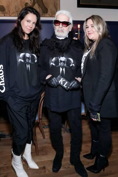 Charlotte Stockdale, Karl Lagerfeld and Katie Lyall