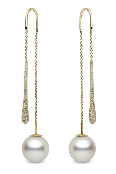 Gold, diamond & pearl earrings, £3,750, by Yoko London