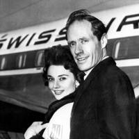 Audrey Hepburn and Mel Ferrer at Idlewild Airport, 1957