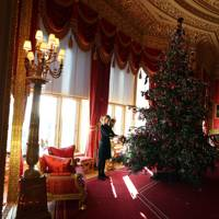 The Crimson Dining Room inside the State Apartments, Windsor Castle