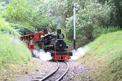 Audley End House miniature railway steam train