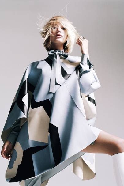 Leather poncho £8,330; silk dress £840, both by Tod's