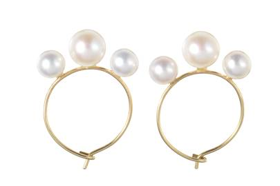 Gold & pearl earrings, £220, by Saskia Diez