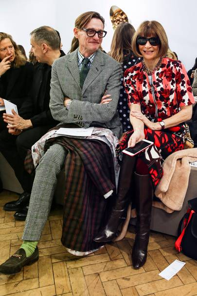 Hamish Bowles and Anna Wintour at JW Anderson A/W18