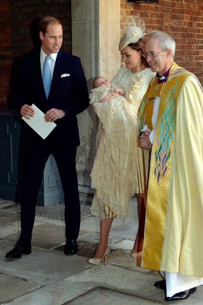 The Duke of Cambridge, The Duchess of Cambridge, Prince George and the The Archbishop of Canterbury