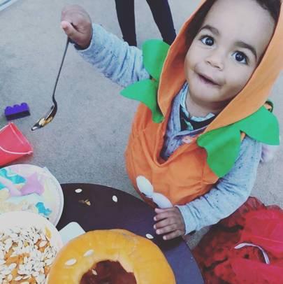 Enzo Kazeem as a pumpkin