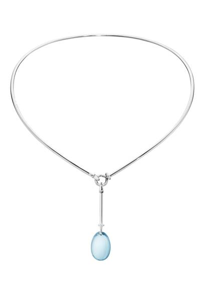 White gold neck ring £4,950, and blue topaz pendant, £1,975, Georg Jensen