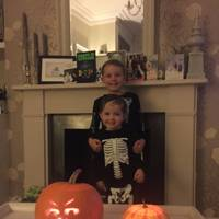 Alexander and Teddy Schifano as skeletons