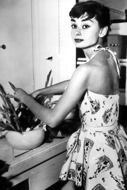 At home in her New York apartment in 1954