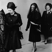 The Queen, the Duchess of Windsor (wearing Givenchy) and the Queen Mother at the Duke of Windsor's funeral, 1972