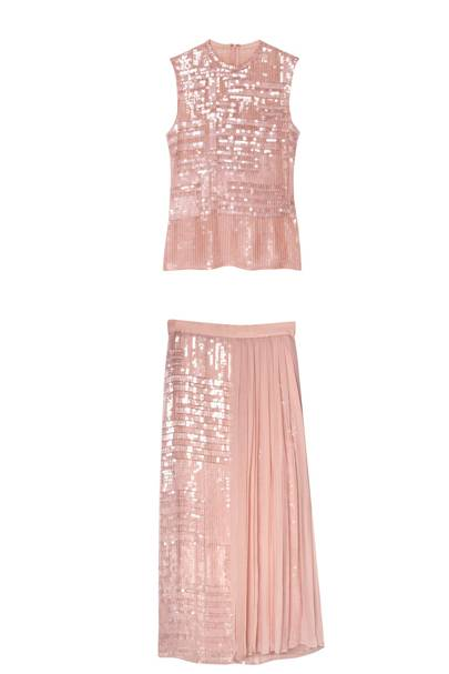 Sequinned silk top, POA, & skirt, POA, both by Hugo Boss