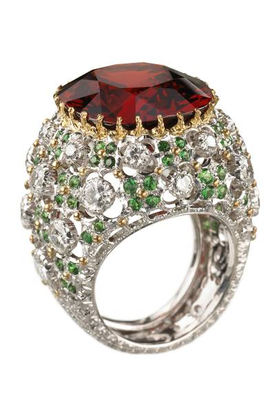 Gold, diamond, spessartine & tsavorite ring, POA, by Buccellati
