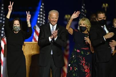 Ashley, Joe, Jill y Hunter Biden celebran la victoria.