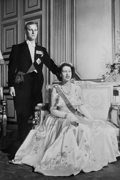 Princess Elizabeth and the Duke of Edinburgh, on their wedding day at Buckingham Palace, 1947