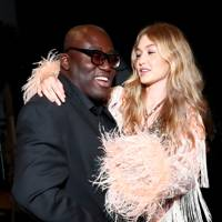Edward Enninful and Gigi Hadid at Anna Sui