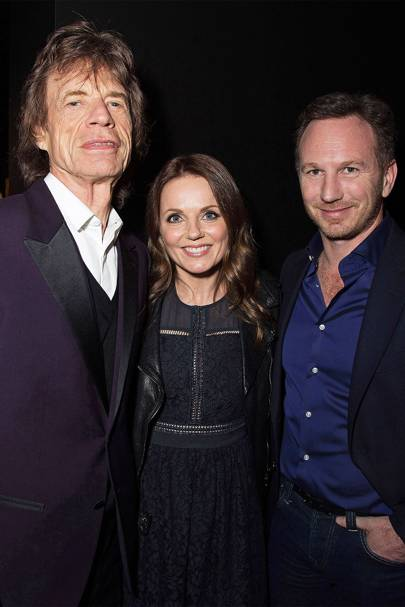 Mick Jagger, Geri Halliwell and Christian Horner