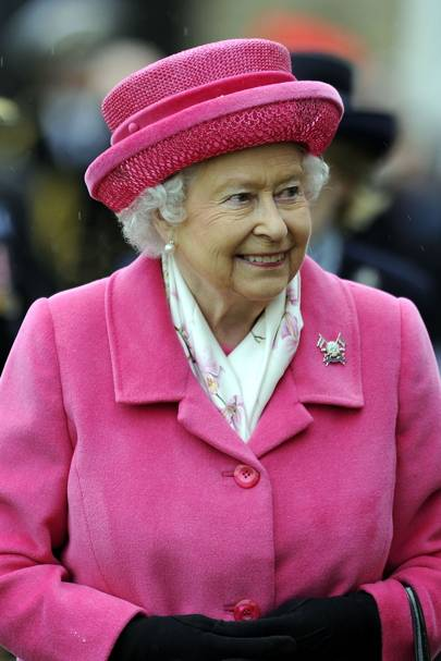 The Queen looking cheery during an official engagement at Richmond Castle