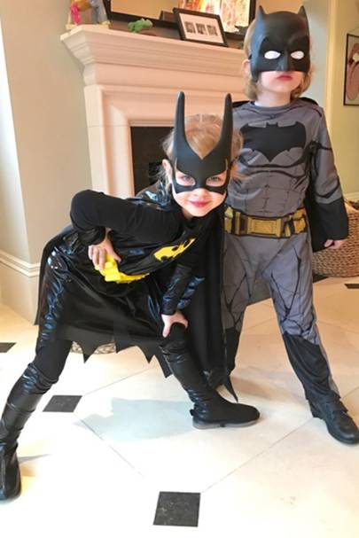 Delilah Mason and Arlo Mason as Batgirl and Batman