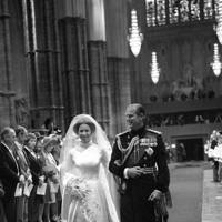 Prince Philip escorts Princess Anne down the aisle of Westminster Abbey, 1973