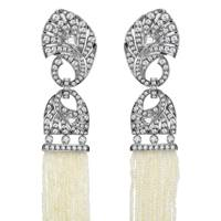 Pearl and diamond earrings, POA, Mikimoto