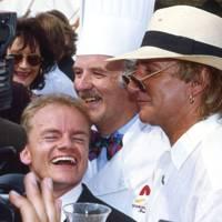 Sepp Zellweger, Anton Mosimann and Rod Stewart