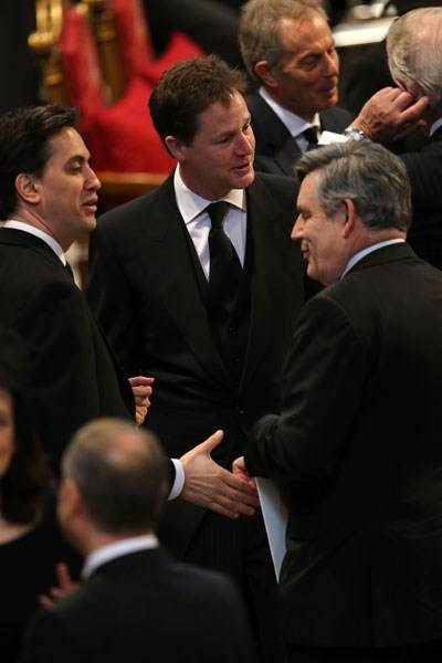 Ed Miliband, Nick Clegg and Gordon Brown